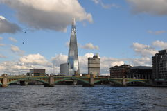 evening on the Thames London shard stock photography