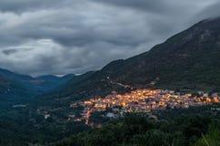 Evening at Tiana village, Sardinia. Evening scene of mountain valley with Tiana village in the foreground, Sardinia Stock Photos