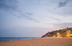 Evening time on the beach in Calella. Calella de Palafrugell night landscape in Costa Brava, Spain. Evening time on the beach in Calella. Calella de Palafrugell royalty free stock photography
