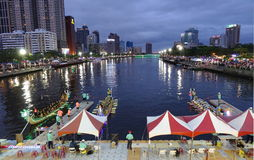 Evening Time Dragon Boat Races in Taiwan Stock Photos