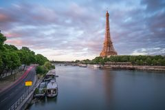 The evening time with Eiffel and Seine River Royalty Free Stock Photography