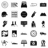 Evening time icons set, simple style. Evening time icons set. Simple set of 25 evening time vector icons for web isolated on white background Stock Images