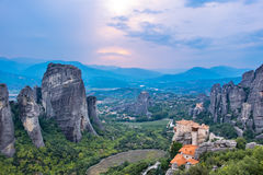 Evening time at Meteora. Plain of Thessaly, Greece Royalty Free Stock Photo