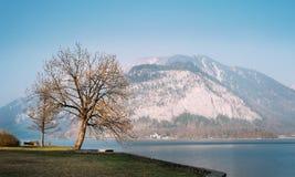 Evening time on mountain Hallstatt lake in Austria Stock Image