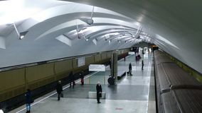 Evening time on new Moscow subway station Shipilovskaya. MOSCOW - FEB 23, 2015: Evening time on new Moscow subway station Shipilovskaya. This is 195th station stock video footage