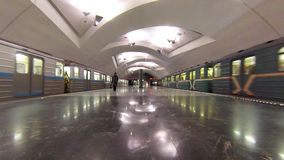 Evening time on new Moscow subway station Shipilovskaya. MOSCOW - FEB 23, 2015: Evening time on new Moscow subway station Shipilovskaya. This is 195th station stock footage