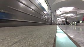 Evening time on new Moscow subway station Shipilovskaya. MOSCOW - FEB 23, 2015: Evening time on new Moscow subway station Shipilovskaya. This is 195th station stock video