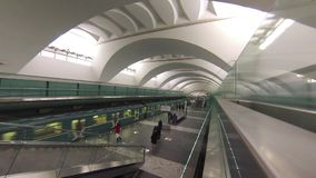 Evening time on new Moscow subway station Zyablikovo. MOSCOW - FEB 23, 2015: MOSCOW Evening time on new Moscow subway station Zyablikovo. This is 196th station stock footage