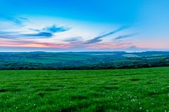 Evening time over fields of grasss and trees in Cornwall royalty free stock photography