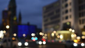 Evening time traffic at Berlin district Charlottenburg next to Bahnhof Zoo stock footage