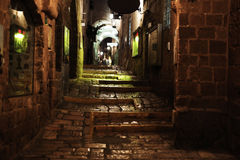 Old Jaffa Evening Alley. Evening time at a typical alley of the old city of Jaffa, Israel Stock Photo
