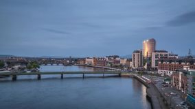 Evening timelapse of Limerick city centre stock video