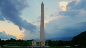 Evening Timelapse View of Washington Monument as Storm Approaches stock footage