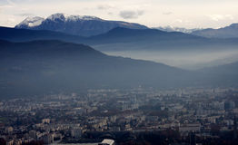 Evening top view of Grenoble Royalty Free Stock Photos