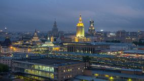 Evening top view of three railway stations day to night timelapse at the Komsomolskaya square in Moscow, Russia. Evening top view of three railway stations day stock video