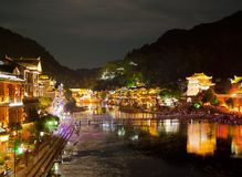 Evening in the town Fenghuang Royalty Free Stock Photos
