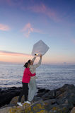 Evening tradition with sky lantern Royalty Free Stock Images