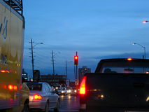 Evening traffic. In the city street Royalty Free Stock Images