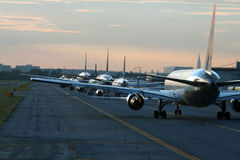 Evening traffic at airport Stock Photography