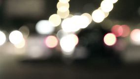 Evening traffic blurred shot. The city lights defocused Abstract background stock footage