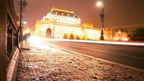 Evening Traffic on the Bridge of Legions. Time Lapse 4K. Czech Republic. Prague. Evening traffic on the bridge of Legions. View of the National Theatre. Time stock video