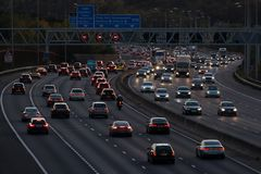 Evening traffic on British motorway M25 royalty free stock image