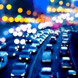 Evening traffic. The city lights. stock photo