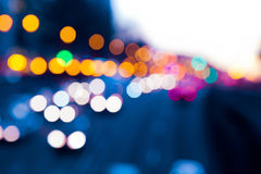 Evening traffic. The city lights. Stock Images