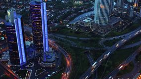Evening Traffic in the City. View from Above. Timelapse. 4K stock video footage