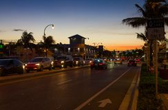 Evening traffic on Commercial Blvd in Ft. Lauderdale Royalty Free Stock Image