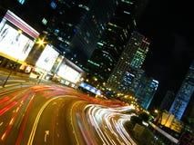 Evening Traffic flow. Central, Hong Kong. Light Stock Photo