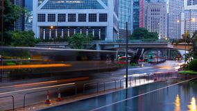 Evening Traffic in Hong Kong and Intermittent Rain. Time Lapse 4K stock footage