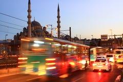 Evening Traffic. Istanbul Evening Traffic at Eminonu. Motion blur Stock Photos