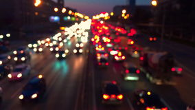 Evening traffic jam of cars in the city. Urban traffic in Moscow. Night Traffic Time Lapse stock footage