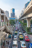 Evening traffic jam in the center city. Bangkok, Thailand - December 27, 2015 : Evening traffic jam in the center city on december 27, 2015 in Bangkok, Thailand Royalty Free Stock Photo