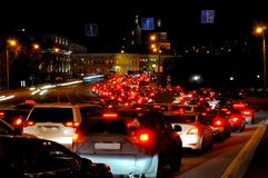 Evening traffic jam in Moscow in the downtown Stock Image