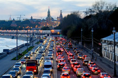 Evening traffic jam near the Moscow Kremlin Royalty Free Stock Photos