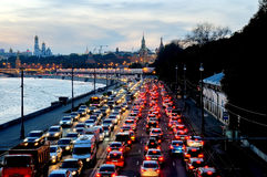 Evening traffic jam near the Moscow Kremlin Royalty Free Stock Photography