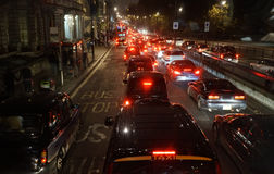 Evening traffic, London city lights Royalty Free Stock Photos