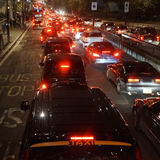 Evening traffic, London city lights Royalty Free Stock Images