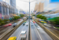 Evening traffic. With motion blur photographing Royalty Free Stock Image