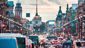 Evening Traffic On Nevsky Prospect In St. Petersburg. View on Nevsky Prospect and Admiralty building in Saint Petersburg, Russia stock footage