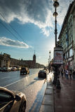 Evening traffic on Nevsky Prospect, the white night in St. Peter Royalty Free Stock Photos