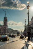Evening traffic on Nevsky Prospect, the white night in St. Peter Royalty Free Stock Images