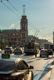 Evening traffic on Nevsky Prospect, the white night in St. Peter. ST. PETERSBURG, RUSSIA - JULY 15, 2016: Evening traffic on Nevsky Prospect, the white night in Royalty Free Stock Photos