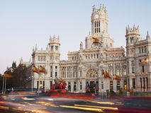Evening traffic on Plaza de Cibeles in Madrid Stock Images