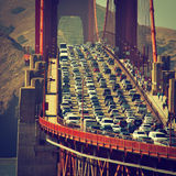 Evening traffic in San Francisco stock photography