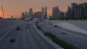Evening Traffic in Singapore. Slow Motion stock video footage