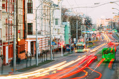 Evening Traffic On Sovetskaya street In Gomel, Belarus Royalty Free Stock Photo