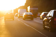 Evening traffic at sunset Royalty Free Stock Photos